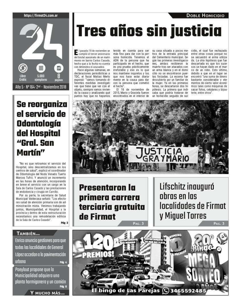 Tapa. Firmat24 periódico. Edición Nro 162.4