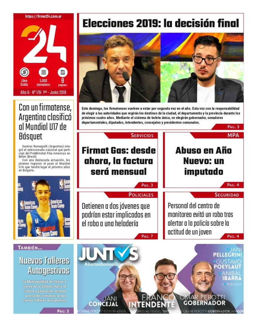 Tapa. Firmat24 periódico. Edición Nro 176