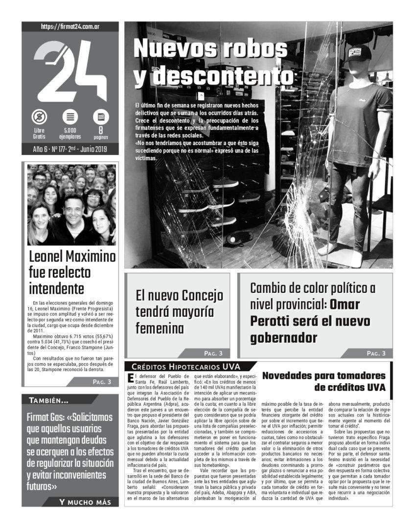 Tapa. Firmat24 periódico. Edición Nro 177