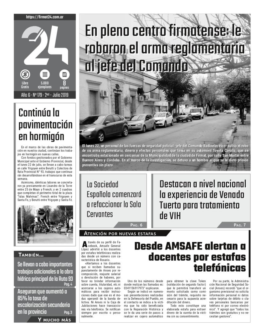Tapa. Firmat24 periódico. Edición Nro 179