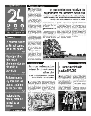 Tapa. Firmat24 periódico. Edición Nro 182.