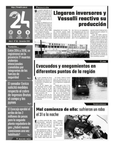Tapa. Firmat24 periódico. Edición Nro 185.