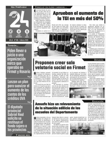 Tapa. Firmat24 periódico. Edición Nro 186.